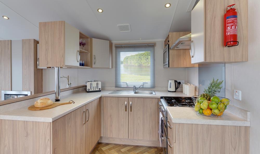 The kitchen of the Willerby Brockenhurst static caravan