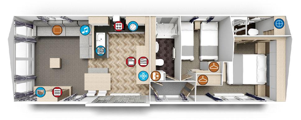 Willerby Linear 2018 two bedroom 40ft x 13ft floorplan