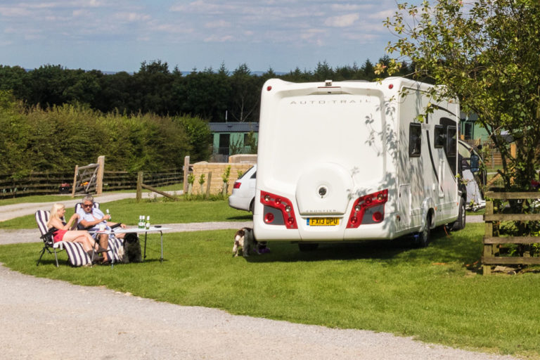 motorhome parked on the touring caravan site at Golden Square