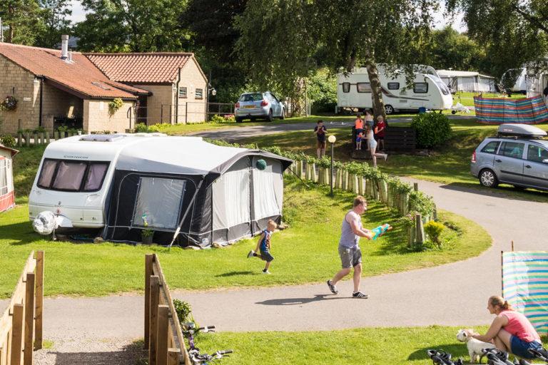 families enjoying Golden Square's touring caravan park