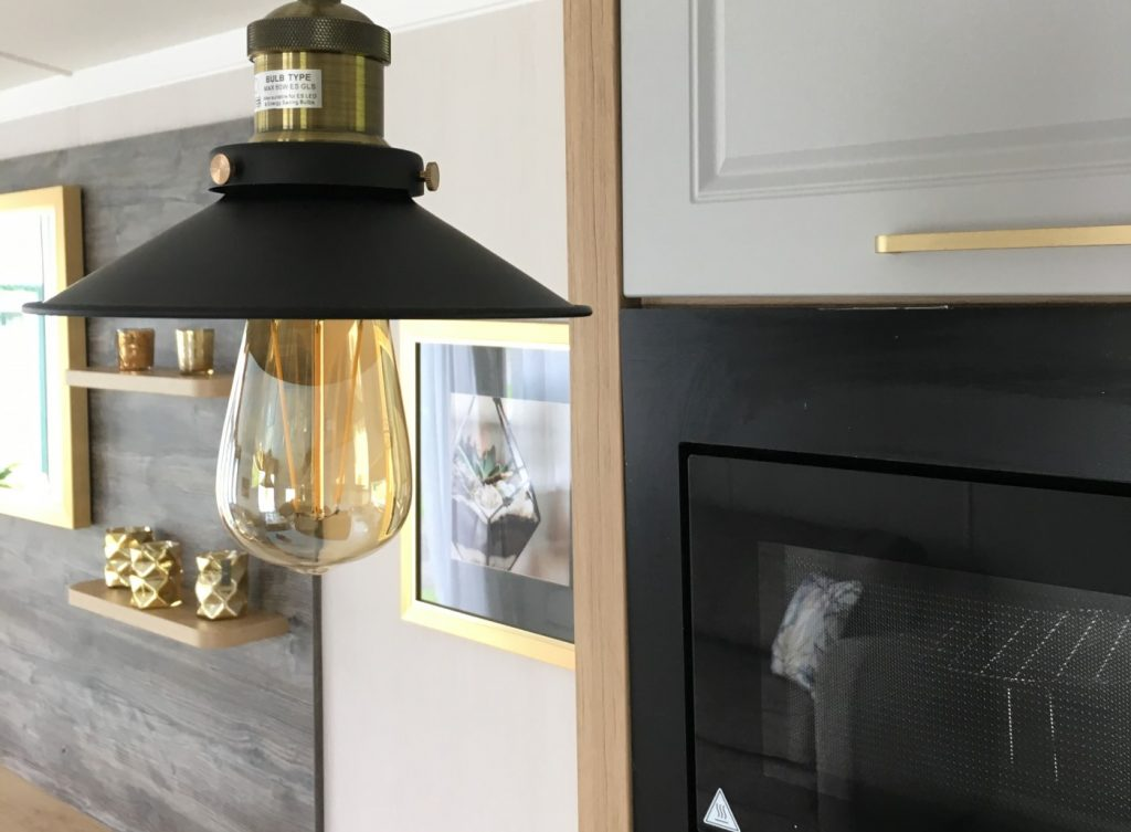 light fitting and decoration in the Swift Bordeaux 2020 holiday home at Golden Square Caravan Park