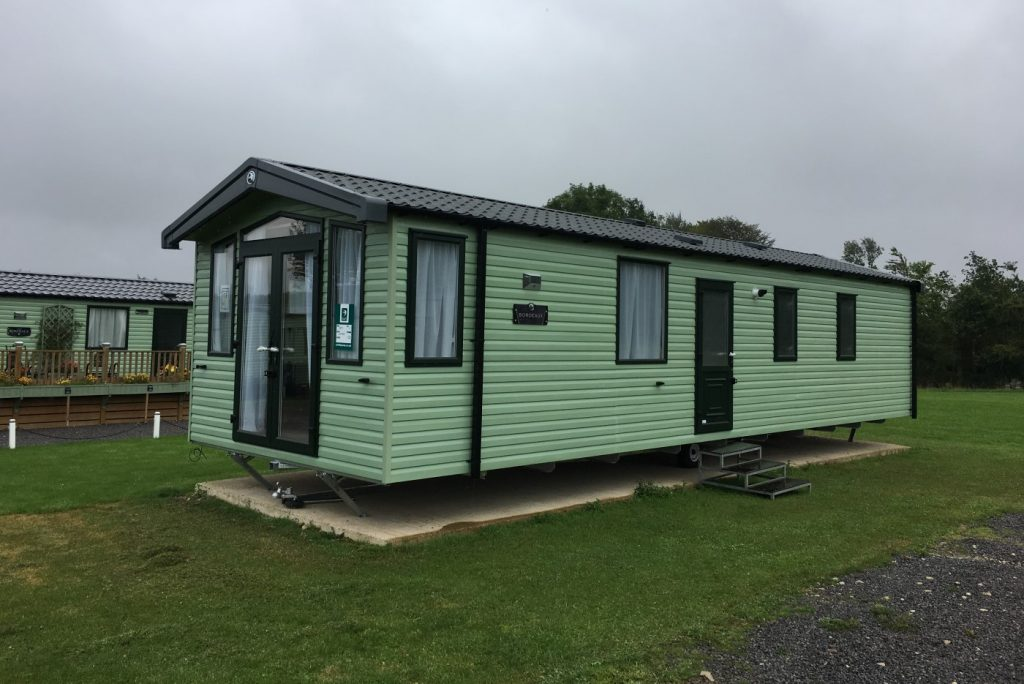 exterior of the Swift Bordeaux 2020 holiday home at Golden Square Caravan Park